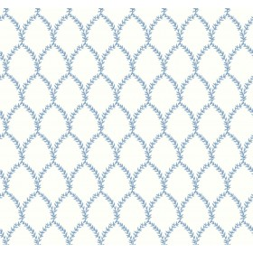 RI5180 Blue/White Laurel Wallpaper