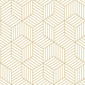 RMK10704WP Stripped Hexagon White/Gold Peel & Stick Wallpaper