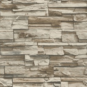 RMK9025WP Stacked Stone Grey/Brown Peel and Stick Wallpaper