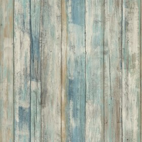 RMK9052WP Blue Distressed Wood Peel and Stick Wall Decor