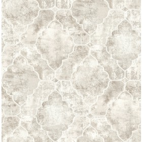 Palazzo Light Grey Quatrefoil Geometric Wallpaper