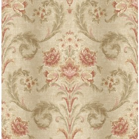 Sophie Mauve Floral Scroll Wallpaper
