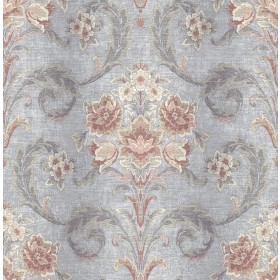 Sophie Taupe Floral Scroll Wallpaper