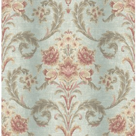 Sophie Aquamarine Floral Scroll Wallpaper