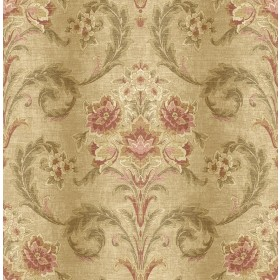 Sophie Wheat Floral Scroll Wallpaper