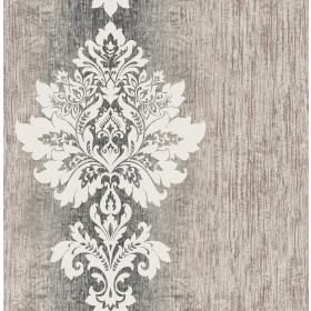 Mazzy Slate Damask Stripe Wallpaper