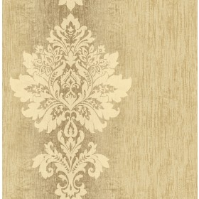 Mazzy Brass Damask Stripe Wallpaper