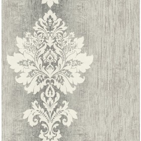 Mazzy Pewter Damask Stripe Wallpaper