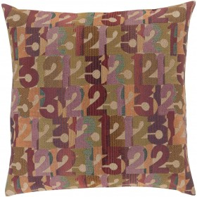 Follow the Numbers Tan, Multi-Color Pillow | SHP001-2222P