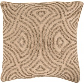 Linen and Beads Tan, Green Pillow | SKD002-2020D