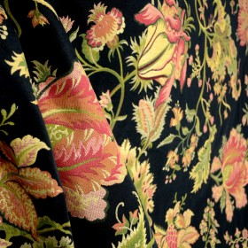 Spencer Black Floral Upholstery Fabric