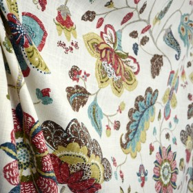 Spring Mix Poppy Brown Red Teal Cream Jacobean Floral Linen Fabric