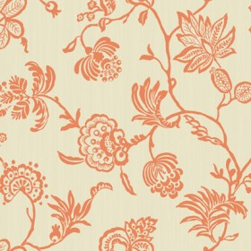 SS2285 Madeline Orange Cream Sculpted Jacobean Floral Wallpaper