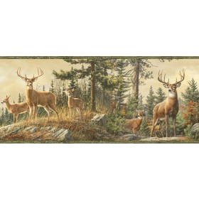 Ashmere Green Whitetail Crest Wallpaper Border