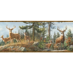 Ashmere Brown Whitetail Crest Wallpaper Border
