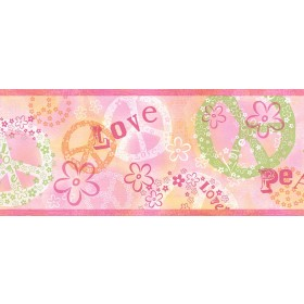 Janis Pink Peace Love Toss Border