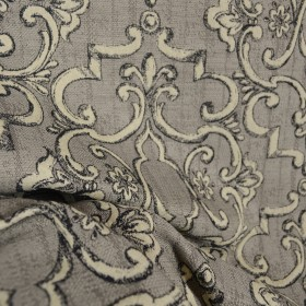 Treillage Charcoal Scroll Grey Black Upholstery Fabric
