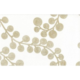 Spiral Branch Print Gold On White Laura Kiran Fabric