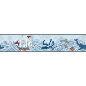 Ships Ahoy! Red, Blue Wallpaper Border