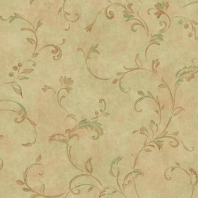 Y6190805 Green Rusty Brown Pendant Scroll Wallpaper