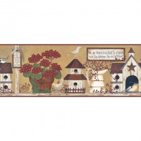 YC3387BD Welcome Home Inspirational Garden Gold, Green, Red Border