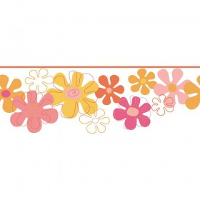 YK0145B Flower Power Yellow Pink Girls Wallpaper Border