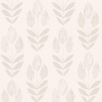 Scandinavian Grey Block Print Tulip Wallpaper