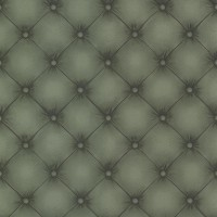 Chesterfield Dark Green Tufted Leather Wallpaper