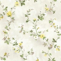 Isabella  Yellow Floral Trail Wallpaper