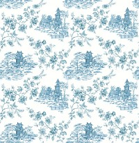 Laure Blueberry Toile Wallpaper