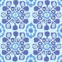 Valencia Blue Ikat Floral Wallpaper