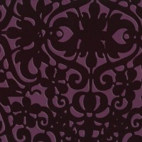 Khatira Magenta Flock Stylized Ironwork   Wallpaper