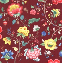Epona Burgundy Floral Fantasy Wallpaper