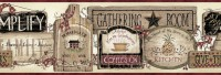 Alfred Red Gathering Room Signs Wallpaper Border