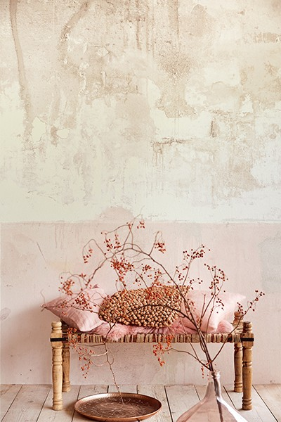 Pale pink weathered wall.